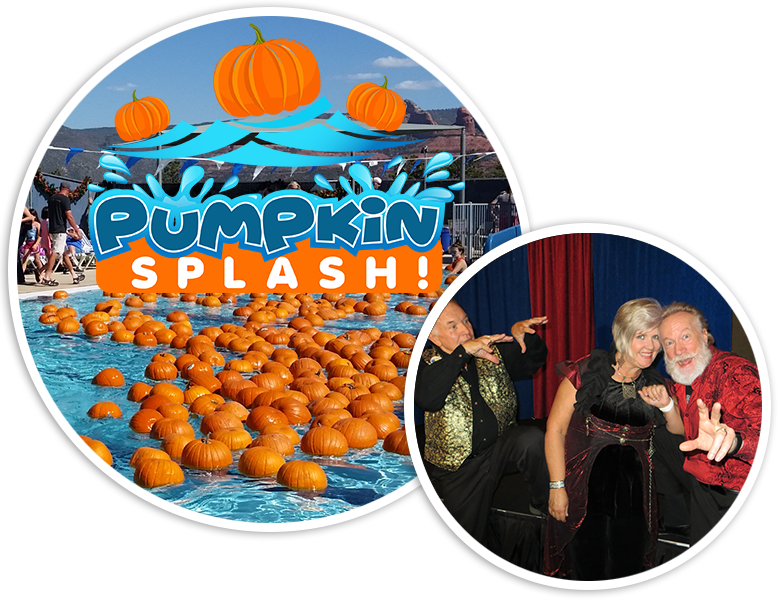 Photo of floating pumpkin patch in pool and a photo of three magicians