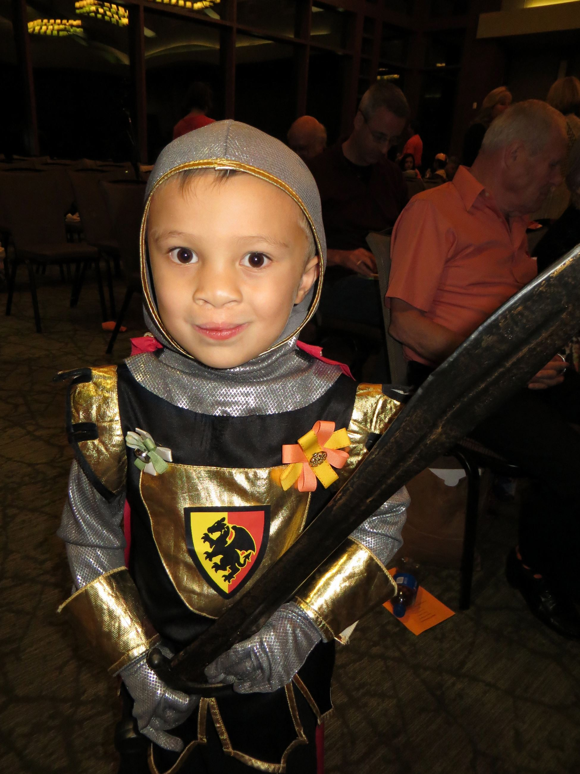 Close up of Boy in Knight Costume
