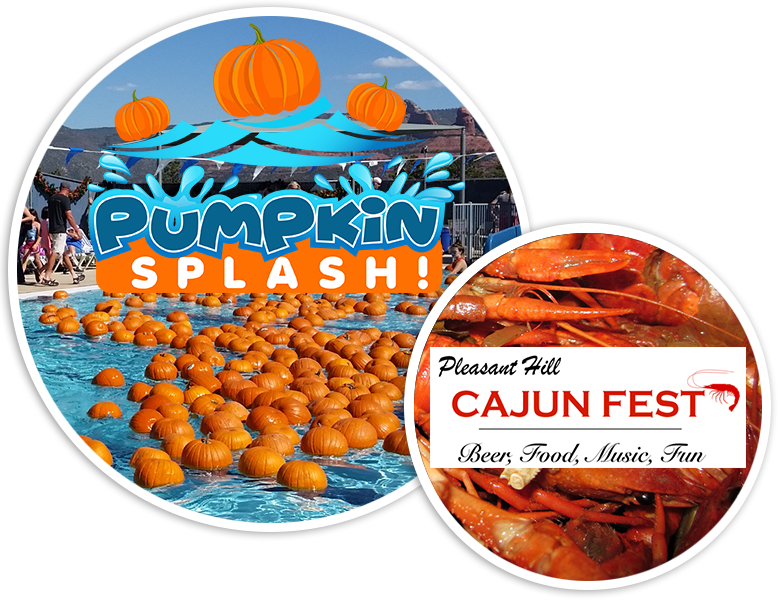 Floating pumpkin patch and Cajun Fest text with crawdad background