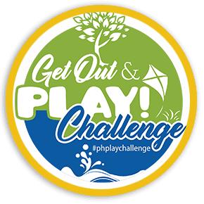 Green, Blue and White Get Out & Play logo with tree, kite and water