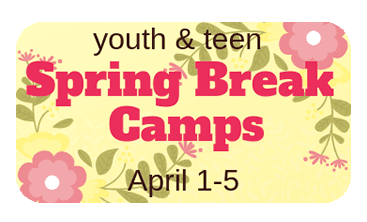 Spring Break Camp text with flowers in background
