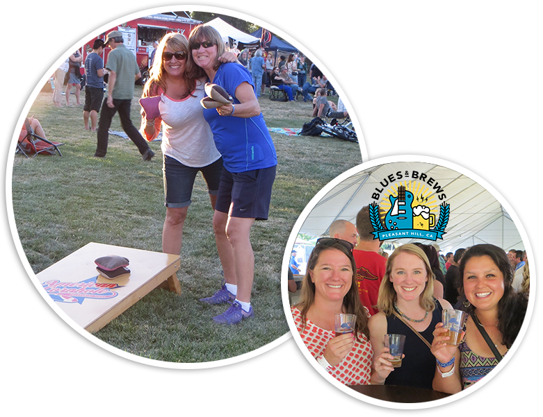 2 ladies with Cornhole board and 3 ladies toasting with small beer glasses