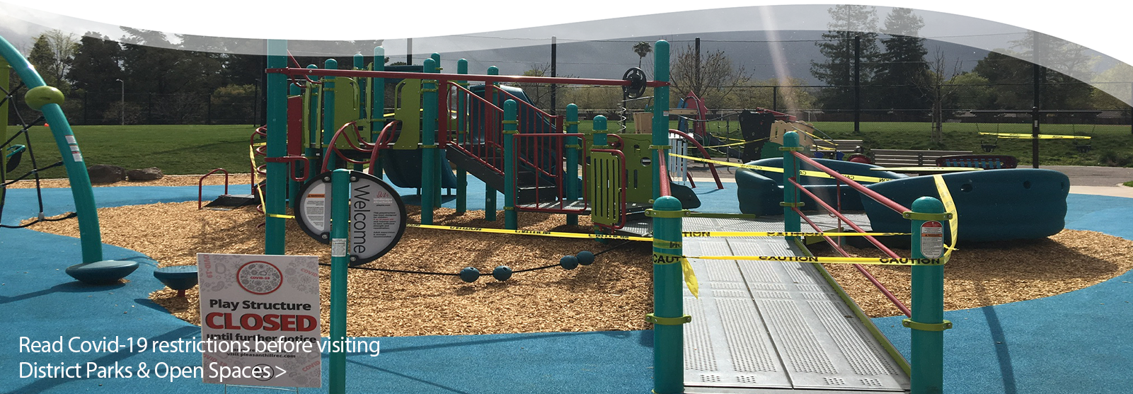 Photo of closed All-Abilities Playground at Pleasant Oaks Park