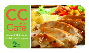 Senior CC Cafe logo and plate of food