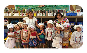 Preschool Registration Image (Group photo of preschooler chefs with teachers)