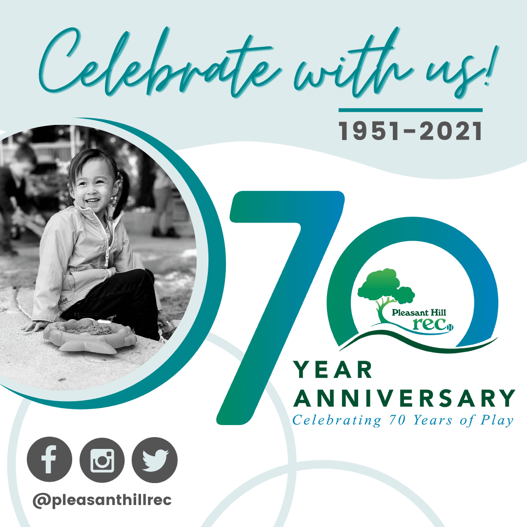 70th Anniversary Logo with photo of girl playing in sandbox