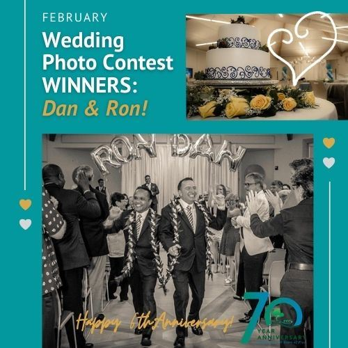 Text: Wedding Photo Contest Winners, Dan & Ron! Image: wedding cake and smiling grooms walking