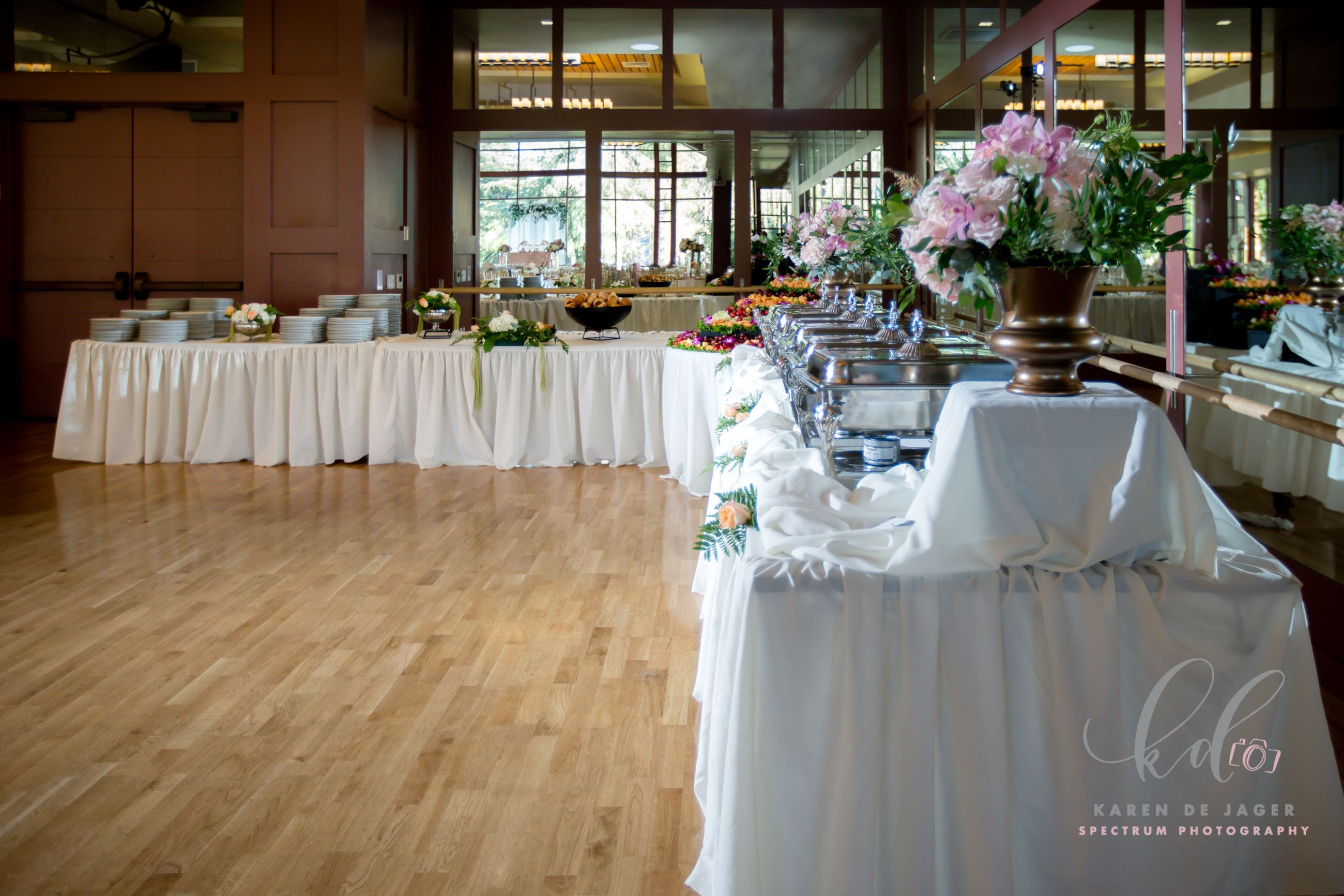 Buffet Setup in Perera Pavilion in front of mirrors