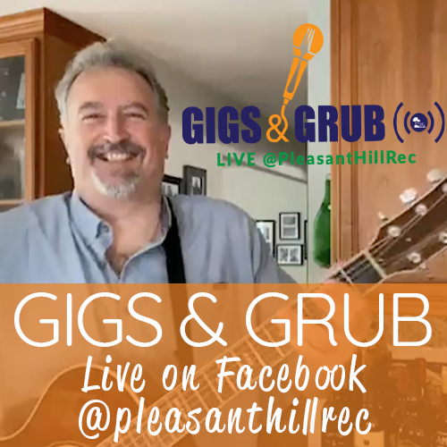 Photo of Frankie G playing Guitar with Gigs & Grub logo