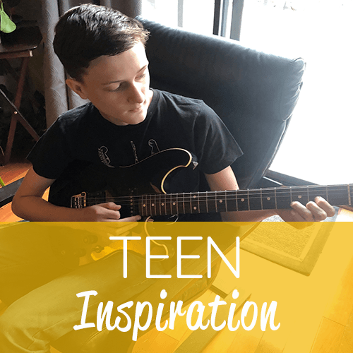 Teen Inspiration Graphic with teen playing guitar (gold band)