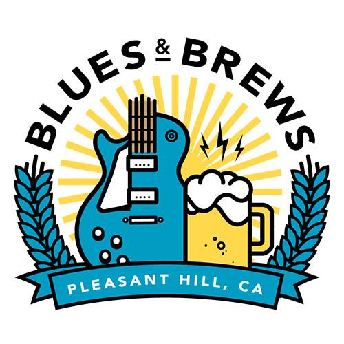 Blues and Brews Logo with Guitar and Mug of beer